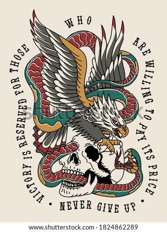 Eagle Fighting with Snake on a Skull Traditional Tattoo Style Illustration Print for Apparel and Other Uses White Base