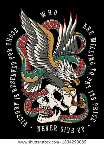 Eagle Fighting with Snake on a Skull Traditional Tattoo Style Illustration Print for Apparel and Other Uses Black Base