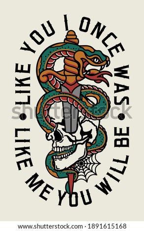 Eagle Fights with A Snake Tattoo Style Illustration with A Slogan Artwork on White Background for Apparel or Other Uses