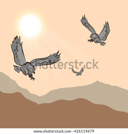 eagle flying over mountainous terrain at sunset