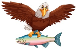 Eagle flying with fish in claws illustration