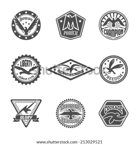 Eagle freedom independence power symbol premium quality labels icons set with displayed wings black  isolated vector illustration