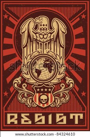 eagle globe propaganda poster