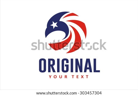 eagle head circle american flag