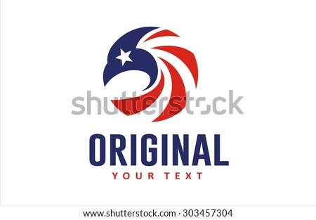 eagle head circle american flag