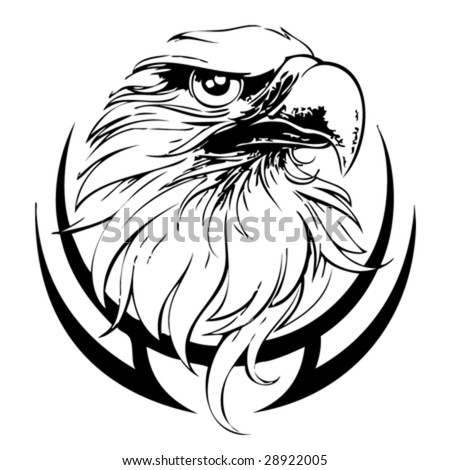 Black And White Eagle Head. stock vector : Eagle Head Line