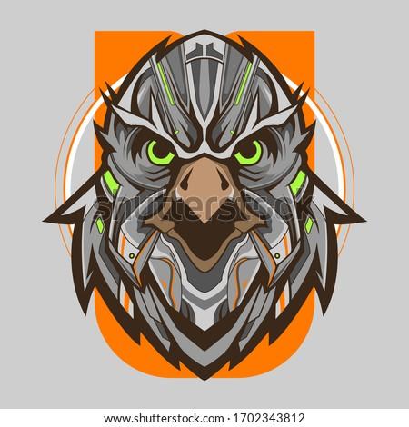 eagle head mecha robotic vector