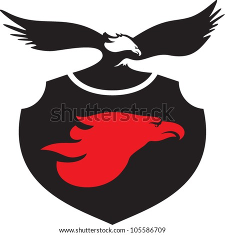 Eagle Head Sign. Eagle Shield Insignia.