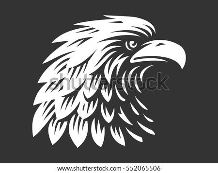 Eagle head - vector illustration, emblem design on dark background