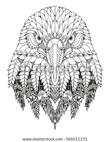 eagle head zentangle stylized
