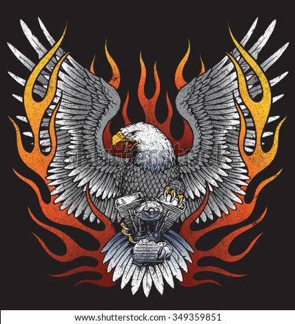 eagle holding motorcycle engine