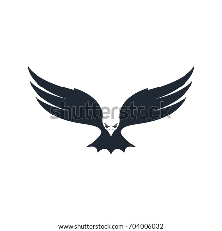 Eagle hunting. Eagle with negative space on white background. Vector illustration.