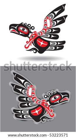 Eagle in Native American Style - stock vector