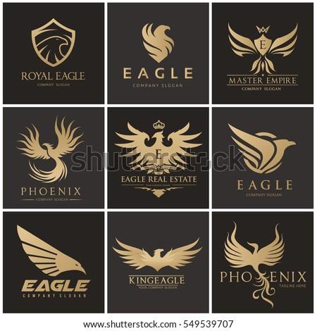 eagle logo set  brand identity