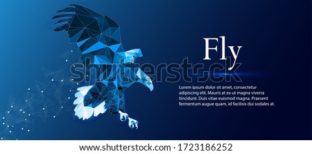Eagle made of lines and rectangles, polygonal style on a blue background. Polygonal eagle in motion, lines and connected with shape, vector illustration.