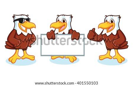 eagle mascot vector happy pose