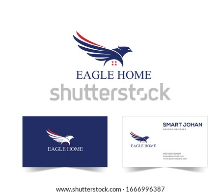 Eagle Mortgage Logo . Eagle Home Logo Design stock vector Illustration. eagle house Logo . Eagle real estate logo template American.