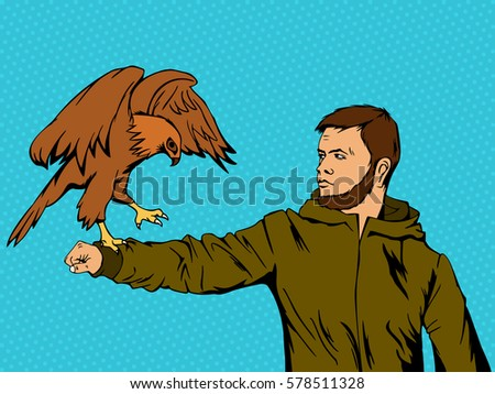 eagle on a man's hand retro