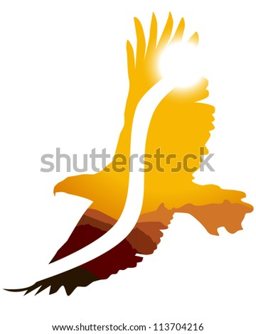 eagle outline with sunsetting