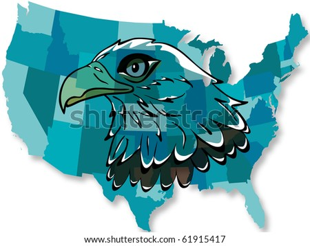 "Eagle over the United States map, vector ""EPS10"""