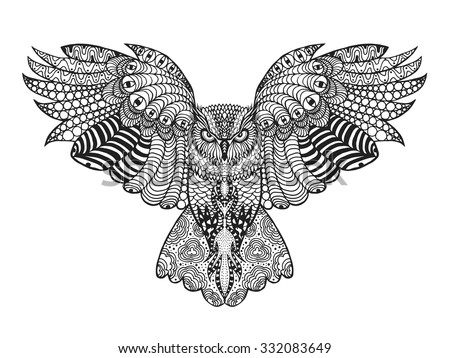 Hand Drawn Of Black And White Owl Download Free Vector Art Stock