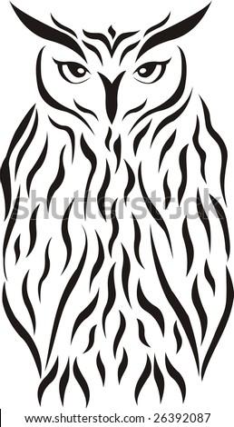 stock vector : Eagle-owl tribal tattoo