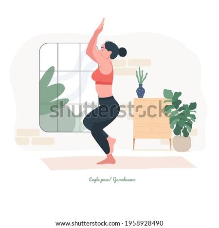Eagle pose ,Garudasana Yoga pose. Young woman practicing yoga exercise. Woman workout fitness, aerobic and exercises. Vector Illustration.  Foto stock ©