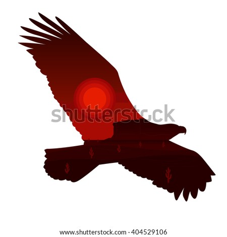 eagle silhouette and western