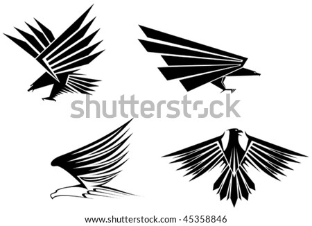 Eagle symbol isolated on white for tattoo design - also as emblem or mascots template. Jpeg version is also available