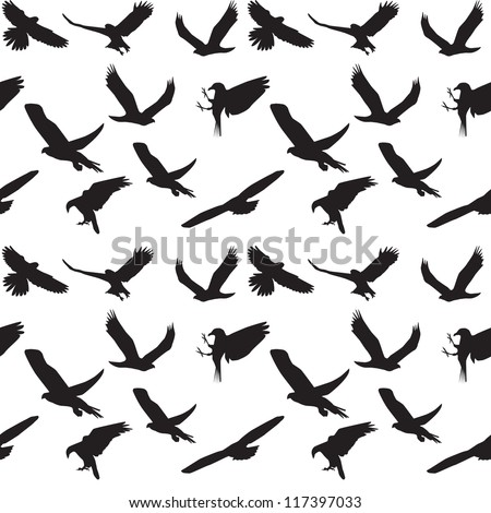 Eagle symbol set seamless pattern. Vector illustration. EPS 10