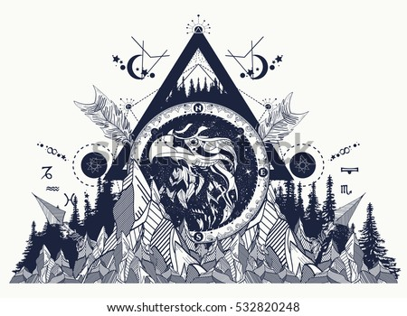 Eagle  tattoo art, mountains, crossed arrows, forest. Astrological symbols, ethnic style, falcon in rocks tattoo. Eagle creative t-shirt design, spirituality, boho, magic symbol