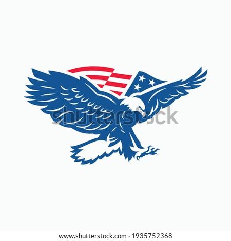 eagle vector logo with flag Stock photo ©