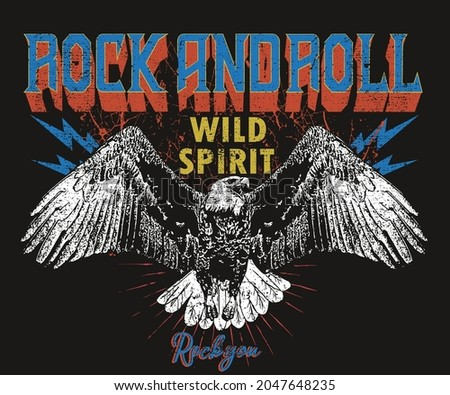 Eagle wild spirit vintage vector t shirt print deign. Rock you wild and free artwork for apparel and others.