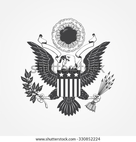 eagle with shield typographic