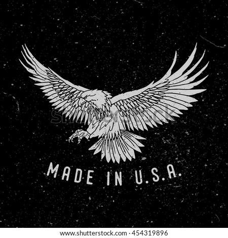 Eagle with slogan Made in USA. Great for Badge Label Sign  Logo Design. Premium Retro Style Drawing. Hand crafted Vector illustration.