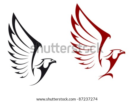 Eagles isolated on white background for mascot or emblem design, also a logo idea. Rasterized version also available in gallery