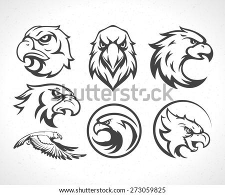 Eagles logos emblems template set mascot symbol for business or shirt design. Vector Vintage Design Element.