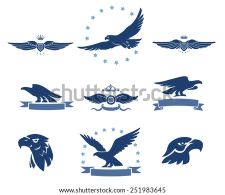 eagles silhouettes and winged