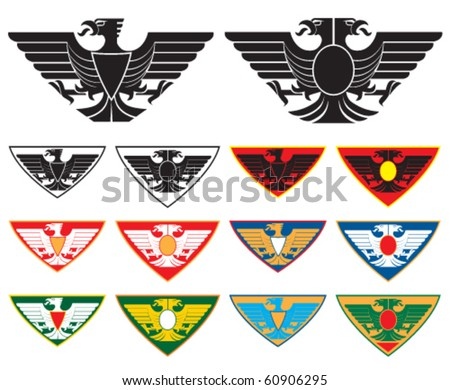 Eagles symbols. Vector illustration with variation of colors.