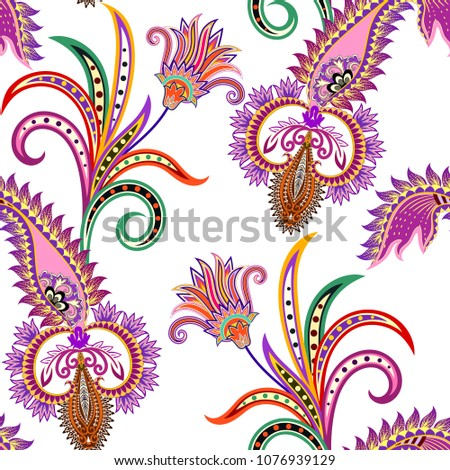 eamless bright pattern with paisley and decorative cirls with polka dots