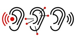 Ear, acupuncture and hearing aid icon. Ear symbols isolated on white background