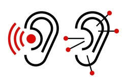 Ear acupuncture and hearing aid icon. Hearing symbol isolated on white background