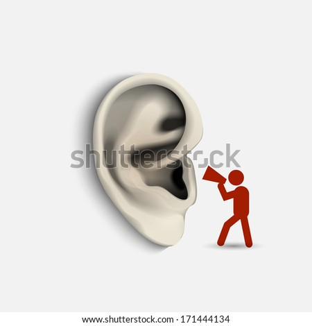Ear and icon man with megaphone. Conceptual vector illustration