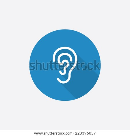 ear Flat Blue Simple Icon with long shadow, isolated on white background