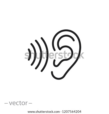 ear icon, hearing linear sign isolated on white background - editable vector illustration eps10