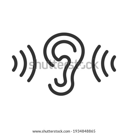 Ear icon. Noise exposure. Sales of hearing aids. Logo of the Doctor of Otolaryngology. Editable stroke. Foto d'archivio ©