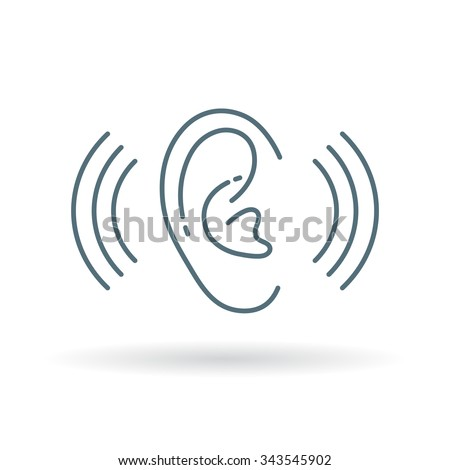 Ear icon. Volume sign. Hearing symbol. Thin line icon on white background. Vector illustration.