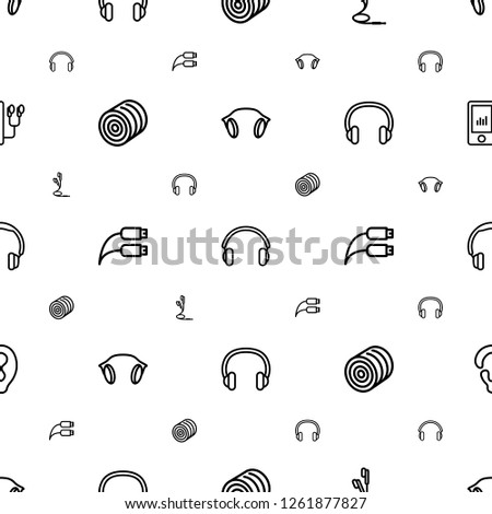 ear icons pattern seamless white background. Included editable outline earphones, hay, earphone wire, headset, headphones, mp player icons. ear icons for web and mobile.