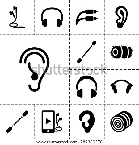Ear icons. set of 13 editable filled ear icons such as hay, ear, cotton buds, phone and earphones, earphones, earphone wire, headset