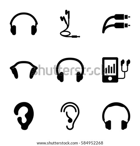 ear icons set. Set of 9 ear filled icons such as ear, mp3 player, earphones, earphone wire, headset